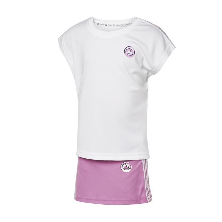 DN23037-100 Conjunto deportivo niña band blanco