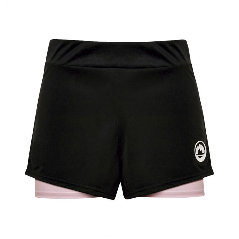 DS4374-200 Short mujer brand negro y rosa